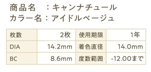 商品名:キャンナチュール カラー名:アイドルベージュ 枚数 2枚 使用期限 1年 DIA 14.2mm 着色直径 14.0mm  BC 8.6mm 度数範囲 -12.00まで