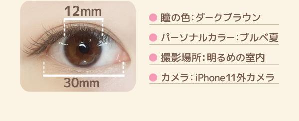 ● 瞳の色:ダークブラウン ● パーソナルカラー:ブルベ夏 ● 撮影場所:明るめの室内 ● カメラ:iPhone11外カメラ 黒目の幅:12mm 白目の幅:30mm