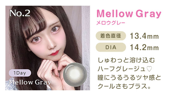 No.2 MellowGrayメロウグレー 着色直径13.4mm DIA14.2mm しゅわっと溶け込むハーフグレージュ 瞳にうるうるツヤ感とクールさもプラス。
