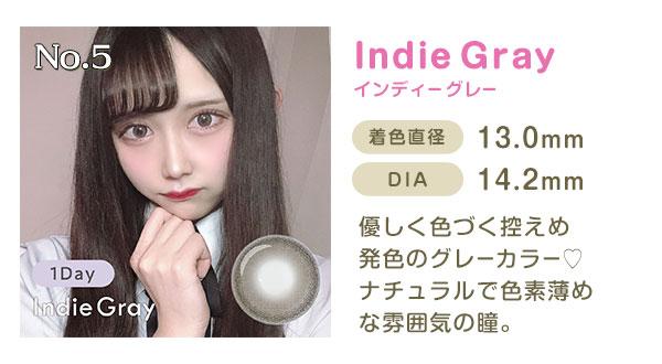 No.5 IndieGrayインディーグレー 着色直径13.3mm DIA14.0mm 優しく色づく控えめ発色のグレーカラー ナチュラルで色素薄めな雰囲気の瞳。