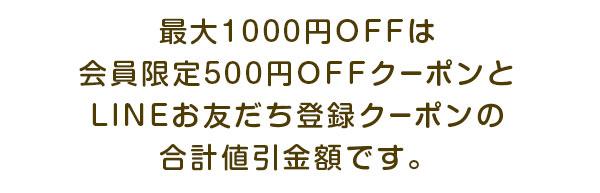 最大1000円OFFは会員限定500円OFFクーポンとLINEお友だち登録クーポンの合計値引金額です。